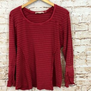 Soft Surroundings lace cuff thermal shirt red L